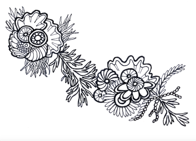 Coral, pen & ink