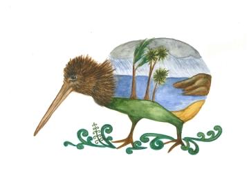 Kiwi, watercolour