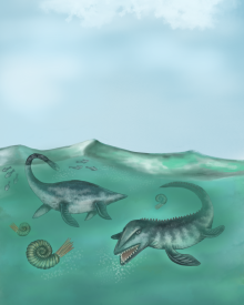 Plesiosaur and mosasaur